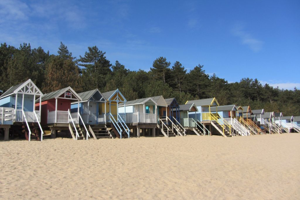A row of colourful beach huts on stilts in the sand at Wells beach, backed by mature pinewoods.