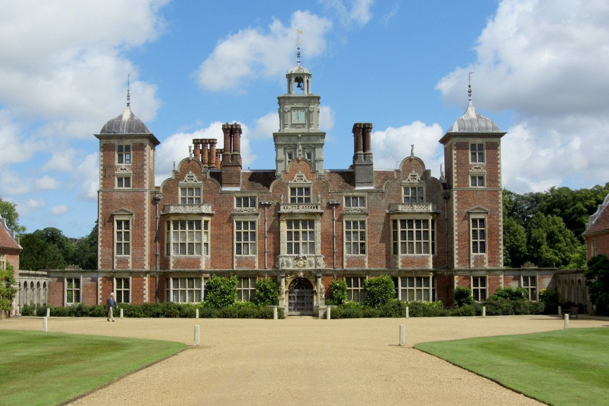 The ornate south façade of Blickling Hall, a 17th century Jacobean mansion owned by the National Trust.