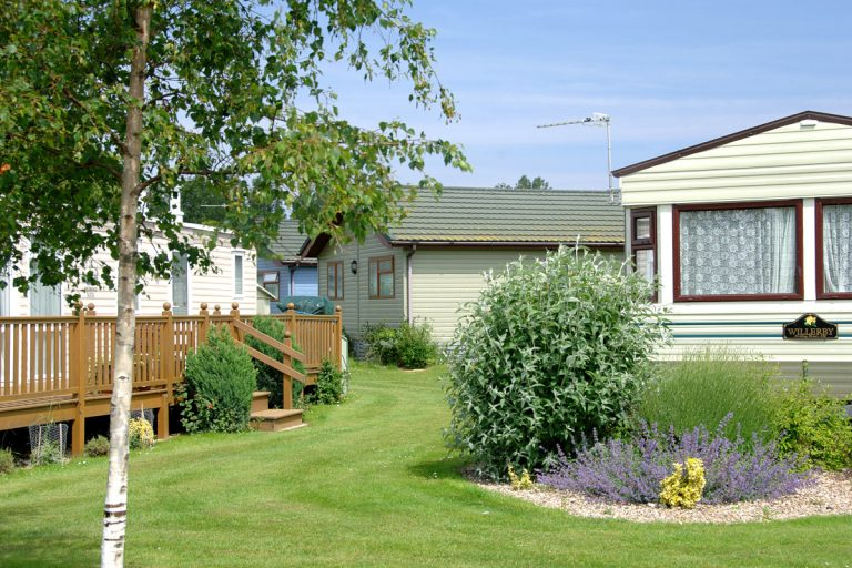 Static caravans surrounded by grass and bushes at Pinewoods Holiday Park.