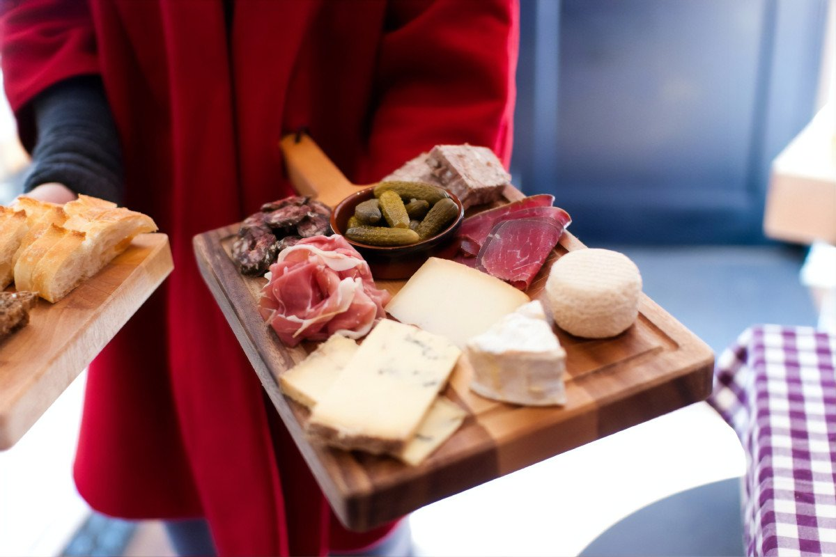 The best local produce available at Creake Abbey Café and Food Hall includes charcuterie, cheese, pickles and bread.