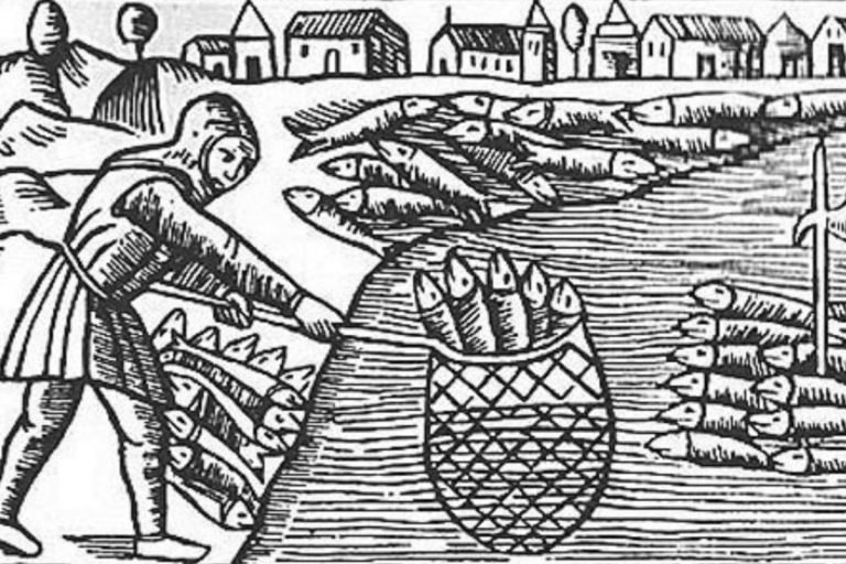 Medieval illustration by Olaus Magnus depicting herring fishery in the Middle Ages.