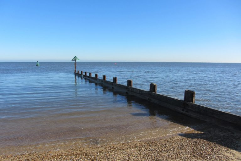 A wooden groyne stretching out to a calm sea from the beach at high tide, with a couple of buoys floating in the water.