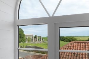 View of Binham Priory from a bedroom at Antwis Cottage.