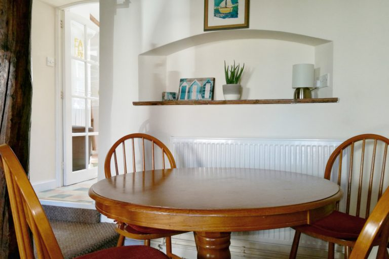 The dining room at Compass Cottage in Wells, Norfolk.