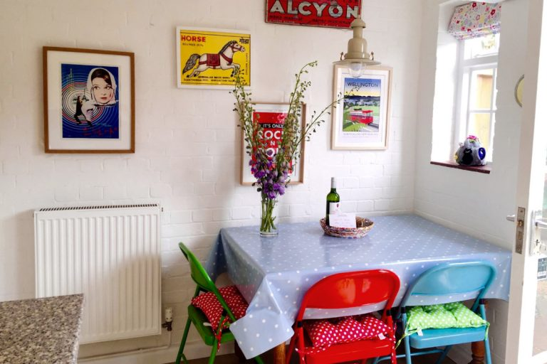 The colourful dining area at Grey Goose Cottage in Wells.