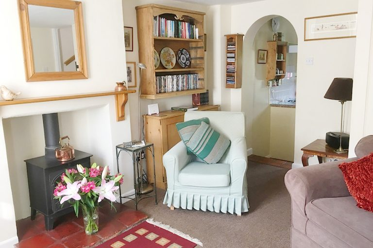 The cosy lounge at Seashell Cottage in Wells, Norfolk.