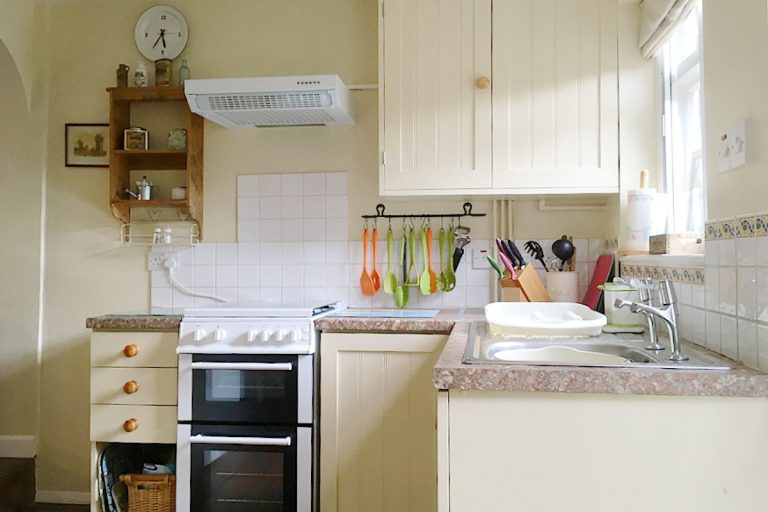 The compact kitchen at Seashell Cottage in Wells.