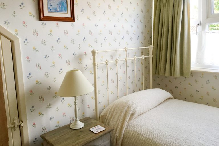 The single bedroom at Seashell Cottage in Wells.
