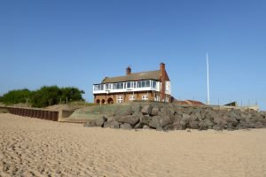 The golf clubhouse at Brancaster beach in Norfolk.