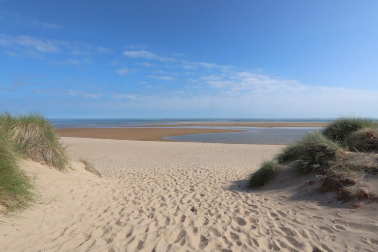 The sandy entrance to Burnham Overy Staithe beach.