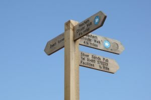 A wooden signpost at Heacham detailing local facilities.