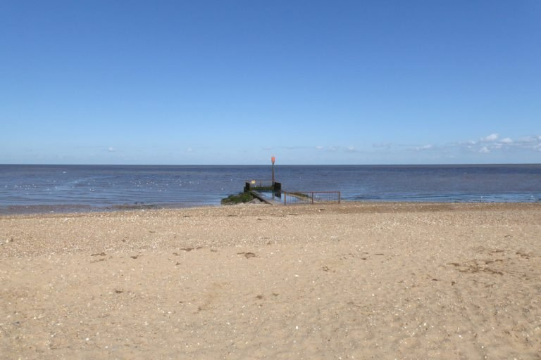 Heacham south beach on a sunny day.