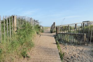 A wooden walkway that slopes down towards Holkham beach.
