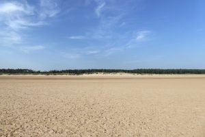 The vast sandy beach at Holkham under a blue sky.