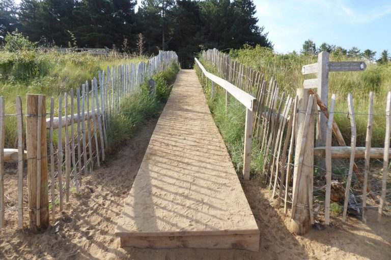 The wooden walkway providing access to Holkham beach.