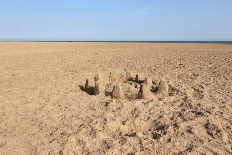 A sandcastle on the beach at Holkham.