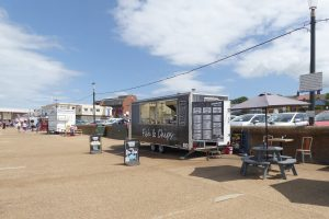 Fast food stands on the promenade at Hunstanton beach.