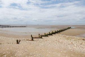 Wooden groynes in the sand at Hunstanton beach.