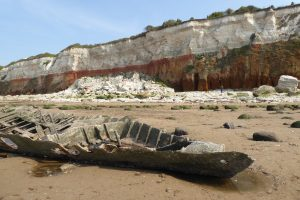 The famous cliffs and wreck at Hunstanton beach.