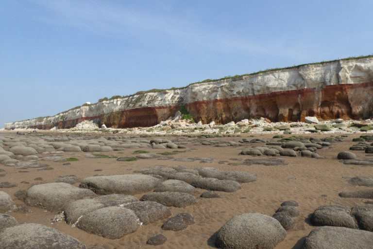 The cliffs and boulders on the beach at Hunstanton.