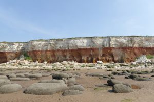 The cliffs and boulders at Hunstanton beach.