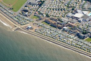 Aerial view of properties at Hunstanton south beach.