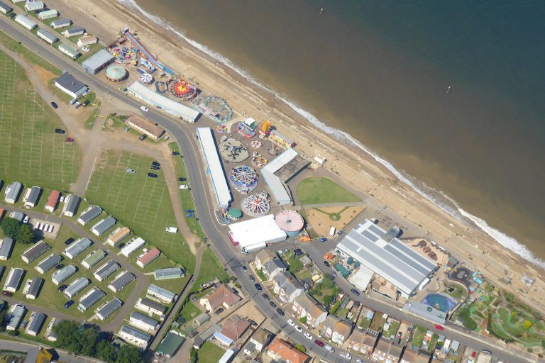 Aerial view of the funfair at Hunstanton beach.