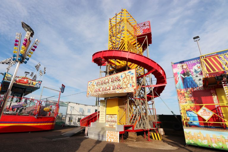 The Helter Skelter at Rainbow Park on Hunstanton's seafront.