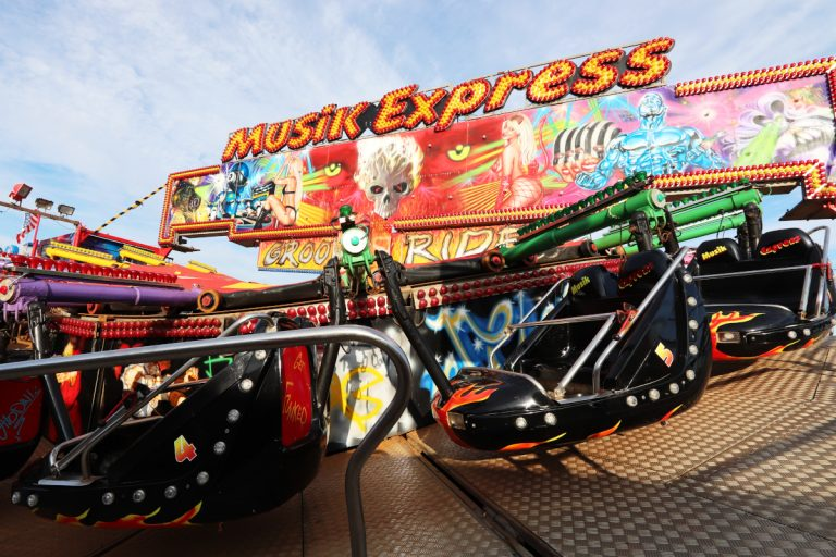 The Musik Express ride at Rainbow Park amusements on Hunstanton seafront.
