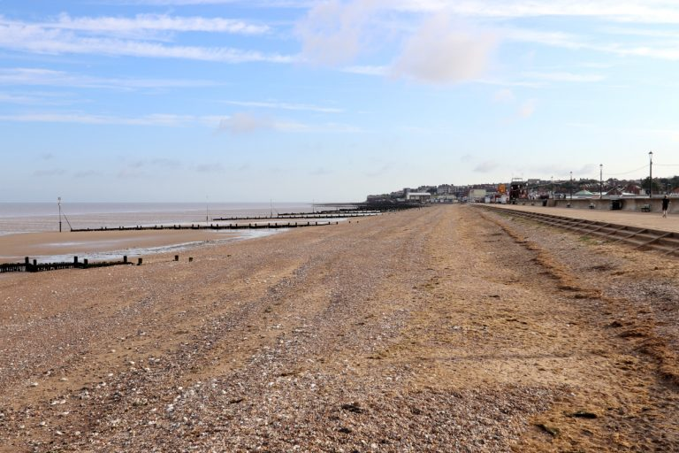 Hunstanton beach at low tide and the town in the distance.