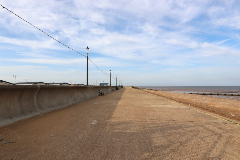 The deserted promenade early in the morning at Hunstantion in Norfolk.