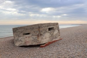 The old military pillbox on the beach at Kelling in Norfolk.