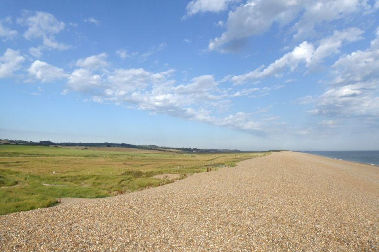 The pebble beach and fields at Kelling under a blue sky.