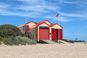 Wells Lifeboat Station on a sunny day.