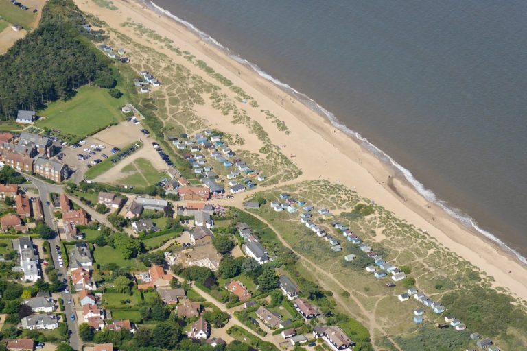 Aerial view of the beach and properties at Old Hunstanton.