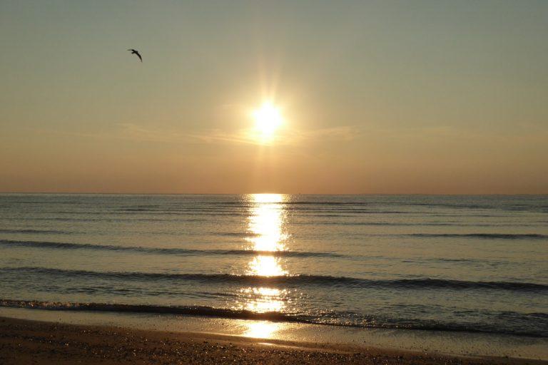 Sunset at Hunstanton beach.