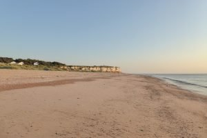 Distant view of the cliffs from Old Hunstanton beach.