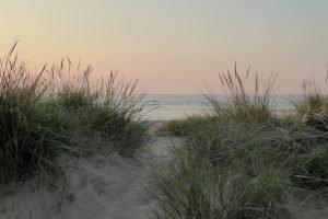 Grassy dunes during sunset at Hunstanton in Norfolk.