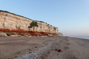 The famous cliffs of Hunstanton at sunset.