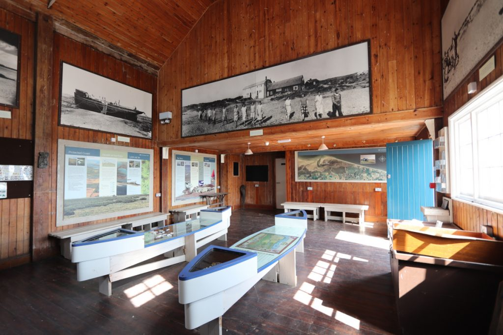 Inside the Lifeboat House at Blakeney Point, now a visitor centre.