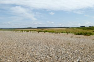 The pebble beach and distant fields at Salthouse in Norfolk.