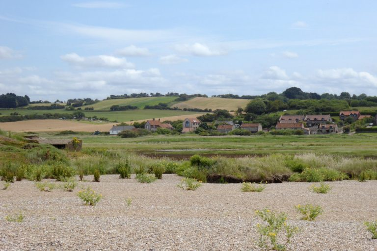 View of Salthouse village from the pebble beach.