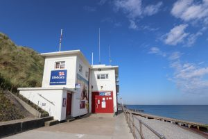 The RNLI station at Sheringham on a sunny day.