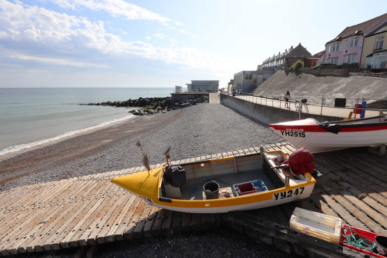 Boats on the slipway at Sheringham beach.