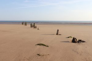 Weathered wooden posts in the sand at Titchwell beach.