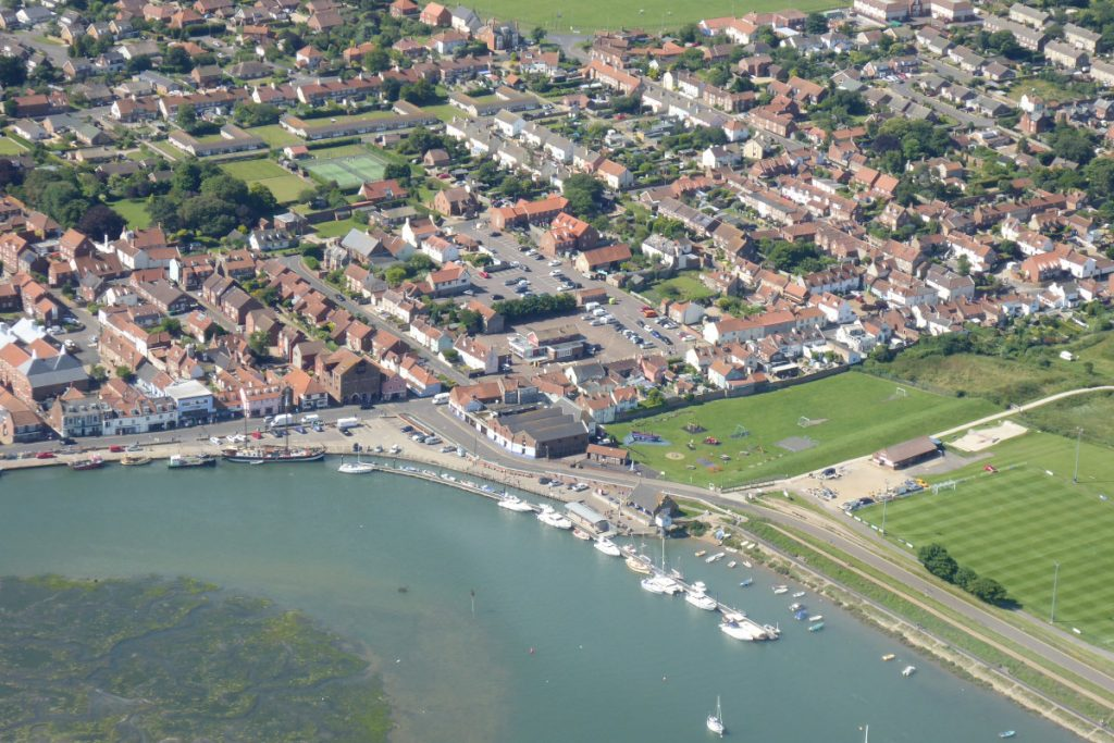 An aerial view of the harbour at Wells-next-the-Sea.