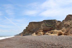The sandy cliffs at Weybourne beach in Norfolk.