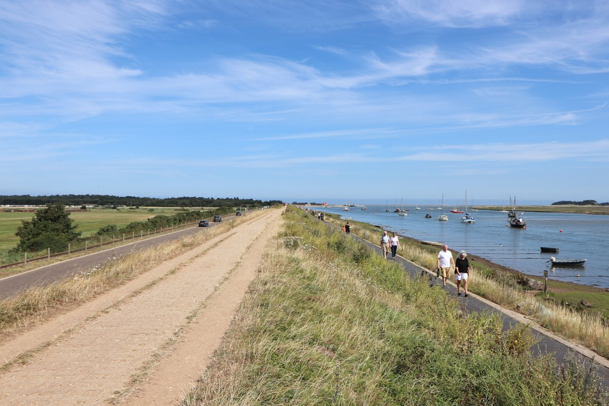 The raised embankment along beach mile at Wells-next-the-Sea.