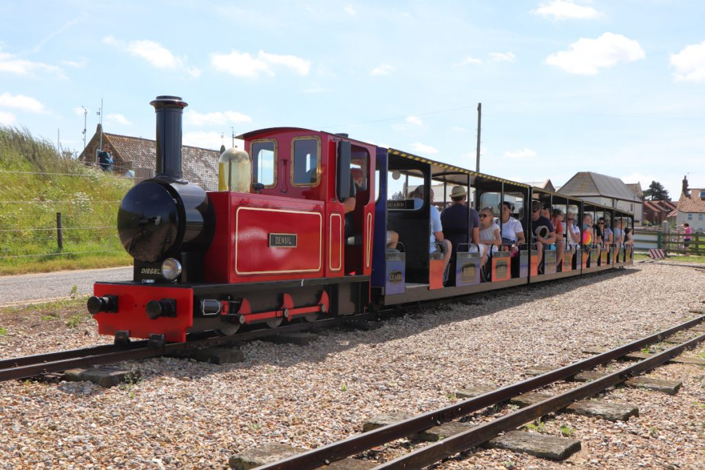 The Wells Harbour Railway departing from Harbour Station.