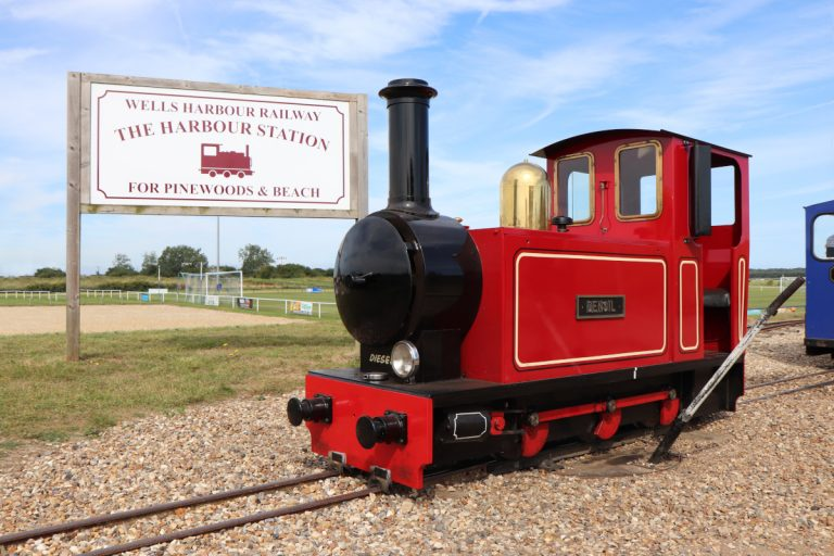 The Wells Harbour Railway engine, also known as Densil, at Wells-next-the-Sea.